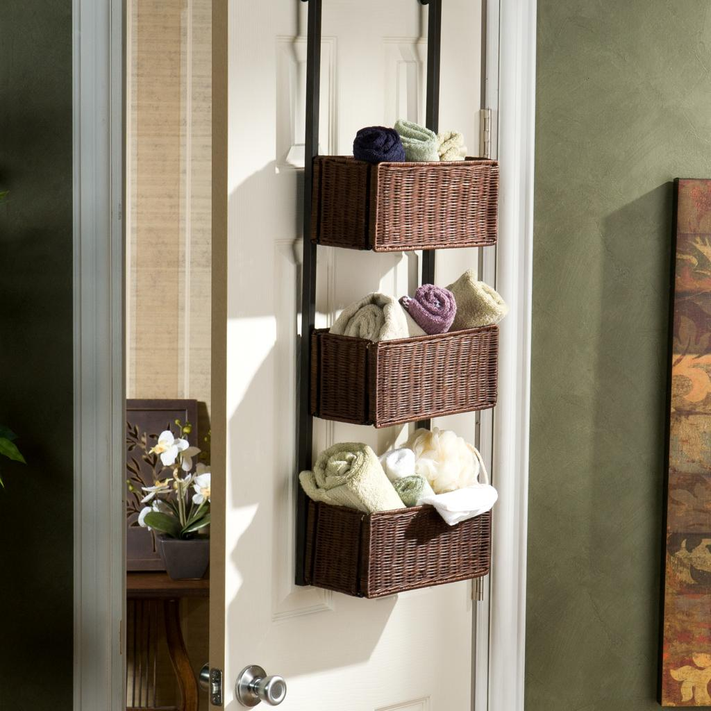 Amazon Com Over The Door Woven Basket Storage 3 Tier W