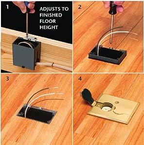 Arlington FLBAF101BR-1 Adjustable Floor Box Kit with Outlet and Flip Plate for