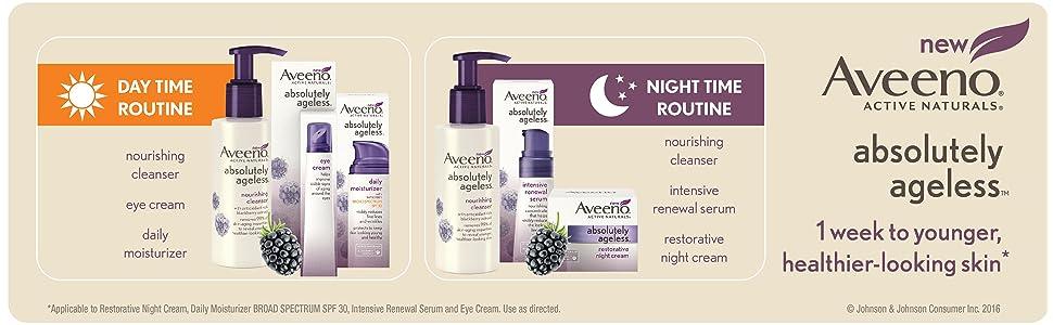 Aveeno day time routine, night time routine, AVEENO Absolutely Ageless Restorative Night Cream