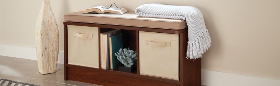 Closetmaid 1569 Cubeicals 3 Cube Storage Bench White