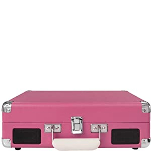 Crosley Cruiser Deluxe Vintage 3-Speed Bluetooth Suitcase Turntable, Pink