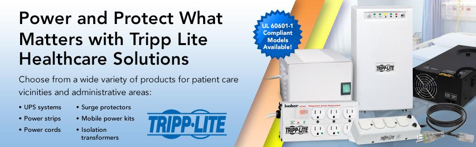 Tripp Lite Hospital Medical Power Cord P006-C08-HG10 8 18AWG 5-15P to C13 Coiled 10A