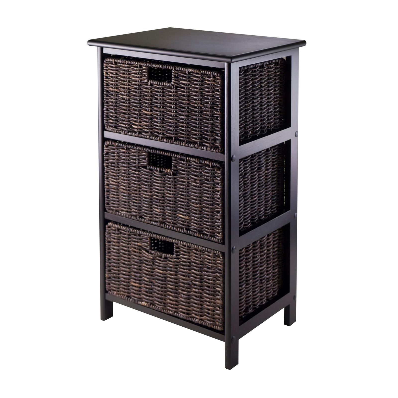 amazon com winsome omaha storage rack with 3 foldable basket home rh amazon com wooden storage shelf with wicker baskets