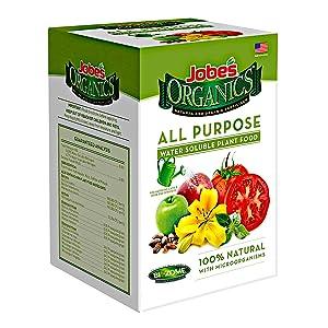 Organic all purpose fertilizer Jobe's water soluble plant food mix liquid fertilizer