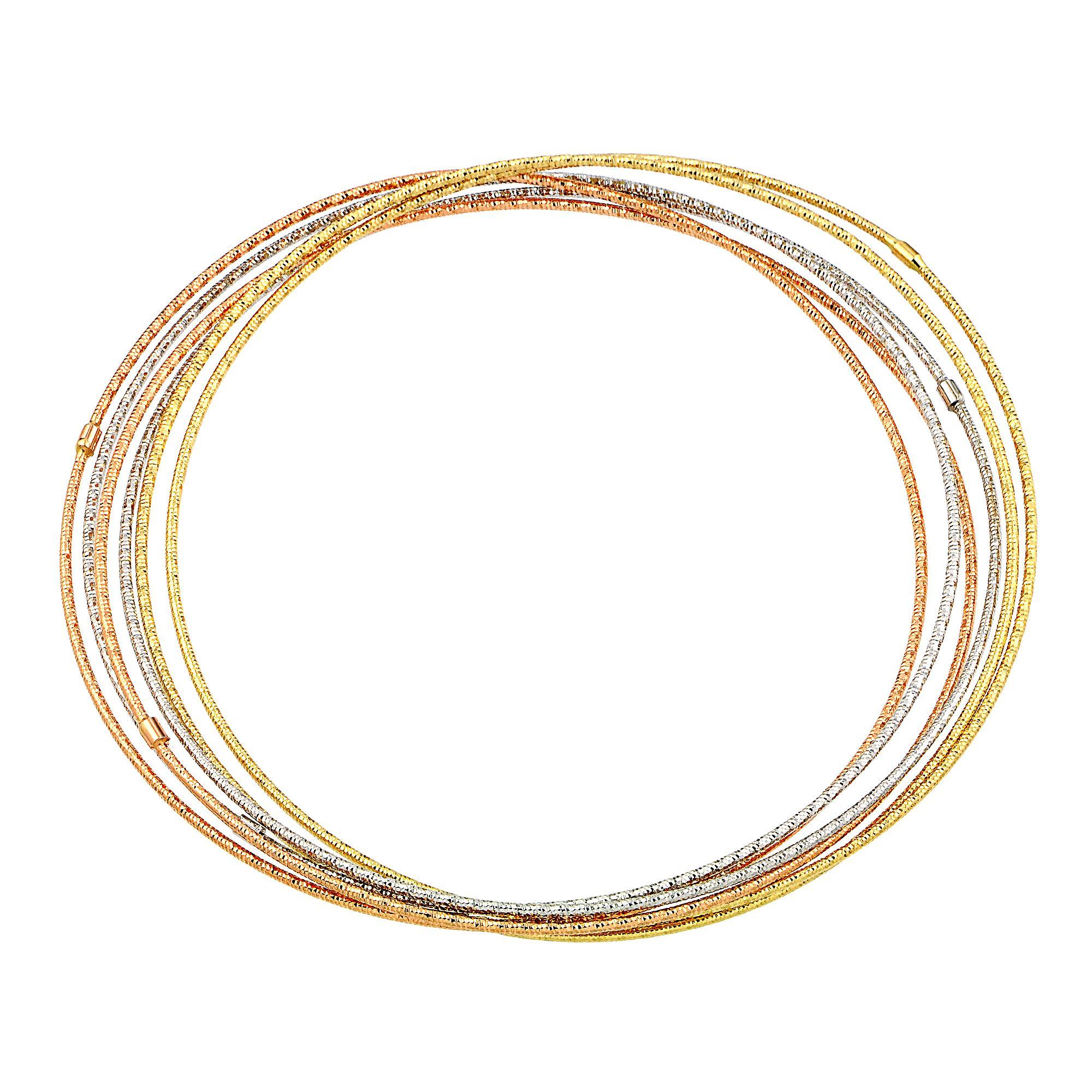 Amazon Com 14k Yellow Gold Diamond Cut 7 Day Bangle Bracelet 6