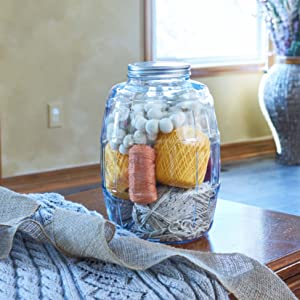 Anchor hocking; glassware; barrel jar; glass; pantry storage; clear glass; crafting; craft room;