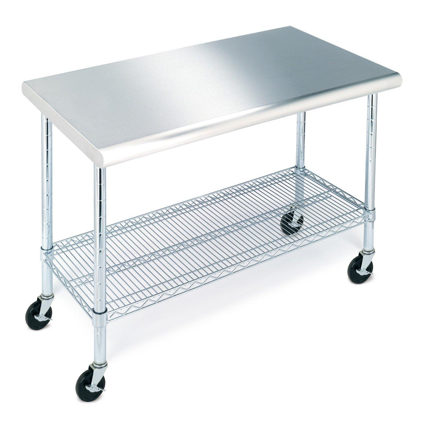 Amazoncom Seville Classics SHEWH Commercial NSF Stainless - Stainless steel work table on casters