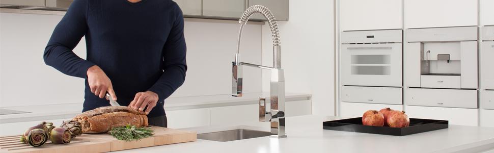 Eurocube Single-Handle Pull-Down Semi-Pro Kitchen Faucet - - Amazon.com