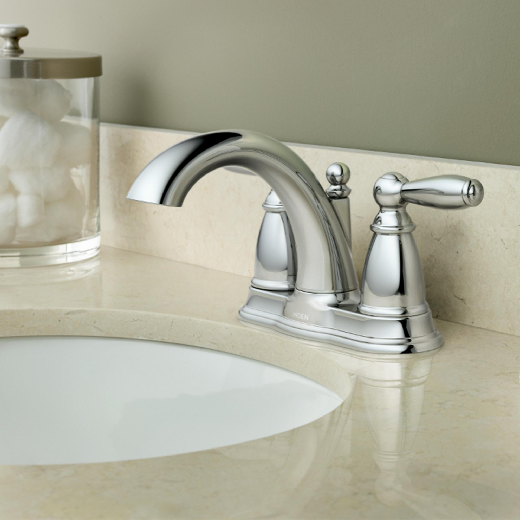 Moen 6610BN Brantford Two-Handle Low Arc Bathroom Faucet with ...