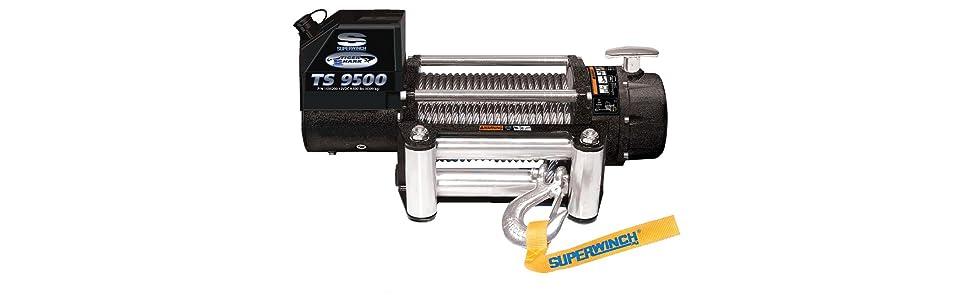 Amazon Com Superwinch 1595200 Tiger Shark 9 5 12 Vdc Winch 9 500 Lb 4 309 Kg Capacity With Roller Fairlead Automotive