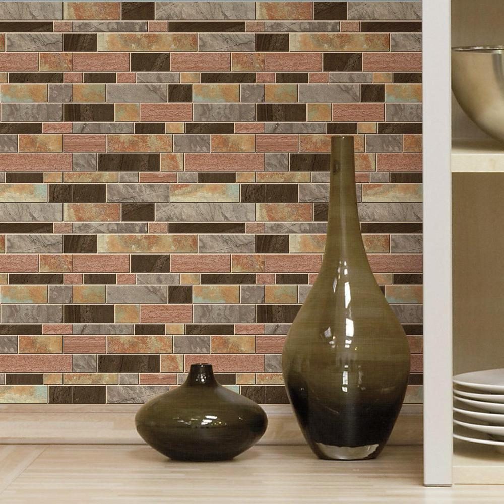 Roommates Sticktiles Modern Long Stone Peel And Stick Backsplash