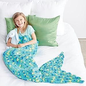 Bernat My Mermaid Crochet Snuggle Sack;Bernat Blanket Brights Yarn