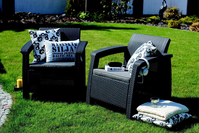 Keter Corfu Love Seat All Weather Outdoor Patio Garden Furniture w