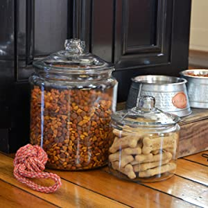 anchor hocking;heritage hill;glass;jar;pantry;storage;durable;pet supplies; treats; dog food
