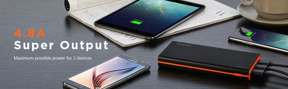EasyAcc 2nd Gen 15000mAh Power Bank (4.8A Smart Output) Portable External Battery Pack