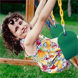 Girl Swinging on Replacement Swing Set Green with Yellow Swing Chians