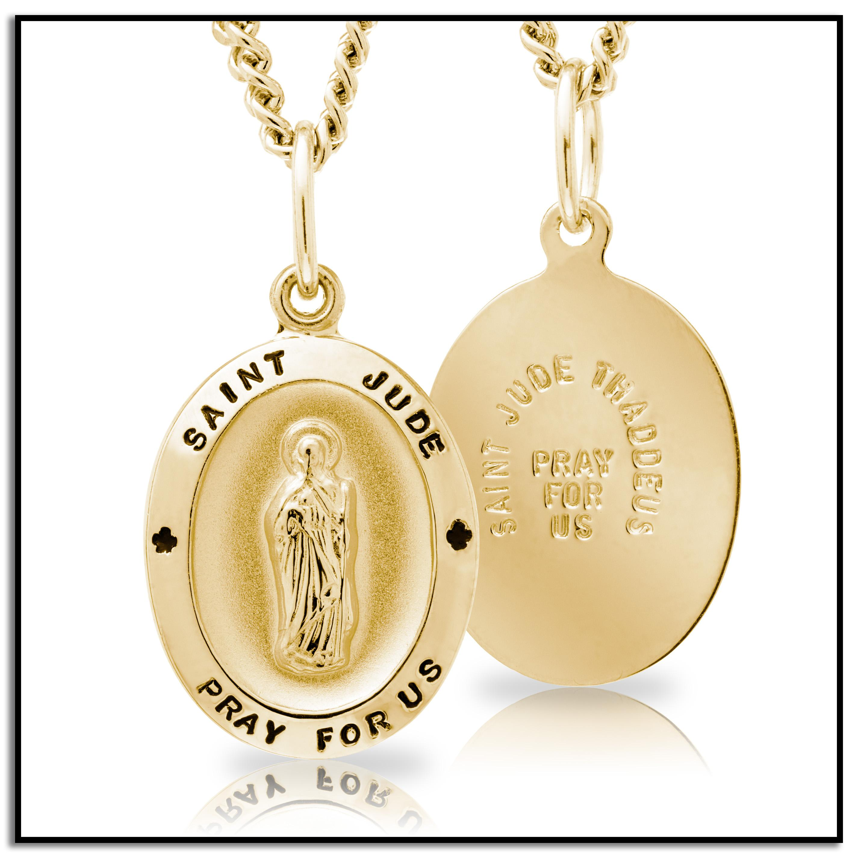 fe53b24e02a Amazon.com: 14k Gold-Filled Oval Saint Jude Pendant Necklace with ...