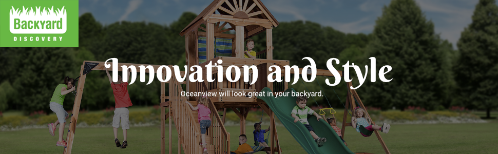 Backyard Discovery Oceanview All Cedar Wood Playset Swing Set
