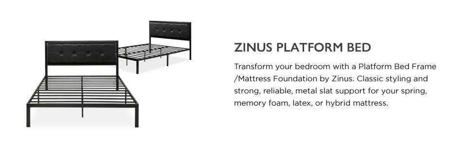 Amazon Com Zinus Cherie Faux Leather Classic Platform Bed