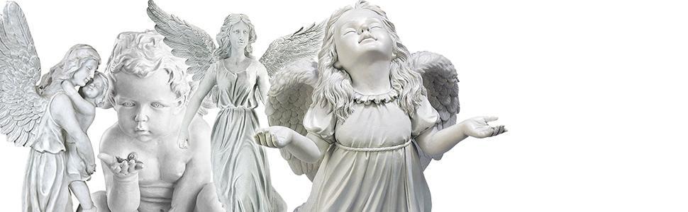 SUPERB ANGEL STATUE ON PLINTH GARDEN ORNAMENT