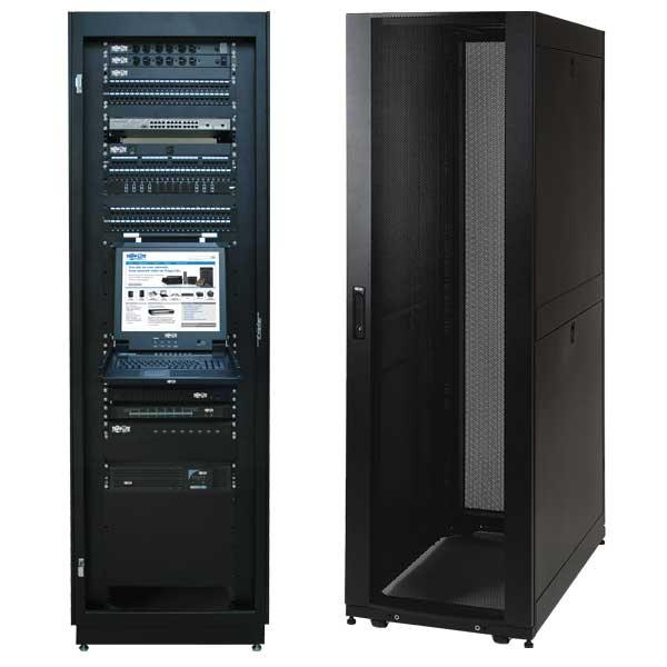 Tripp Lite 42U Standard-Depth Server Rack Enclosure Cabinet with doors &  side panels, 3000-lb  capacity, Black (SR42UB)