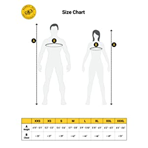 Size chart for Humble Bee polycotton beekeeping suit with round veil