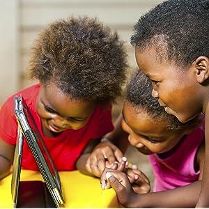 Kids using tablet computer.