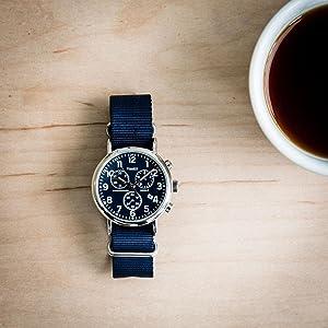 timex weekender chrono TW2P71300 blue nylon strap