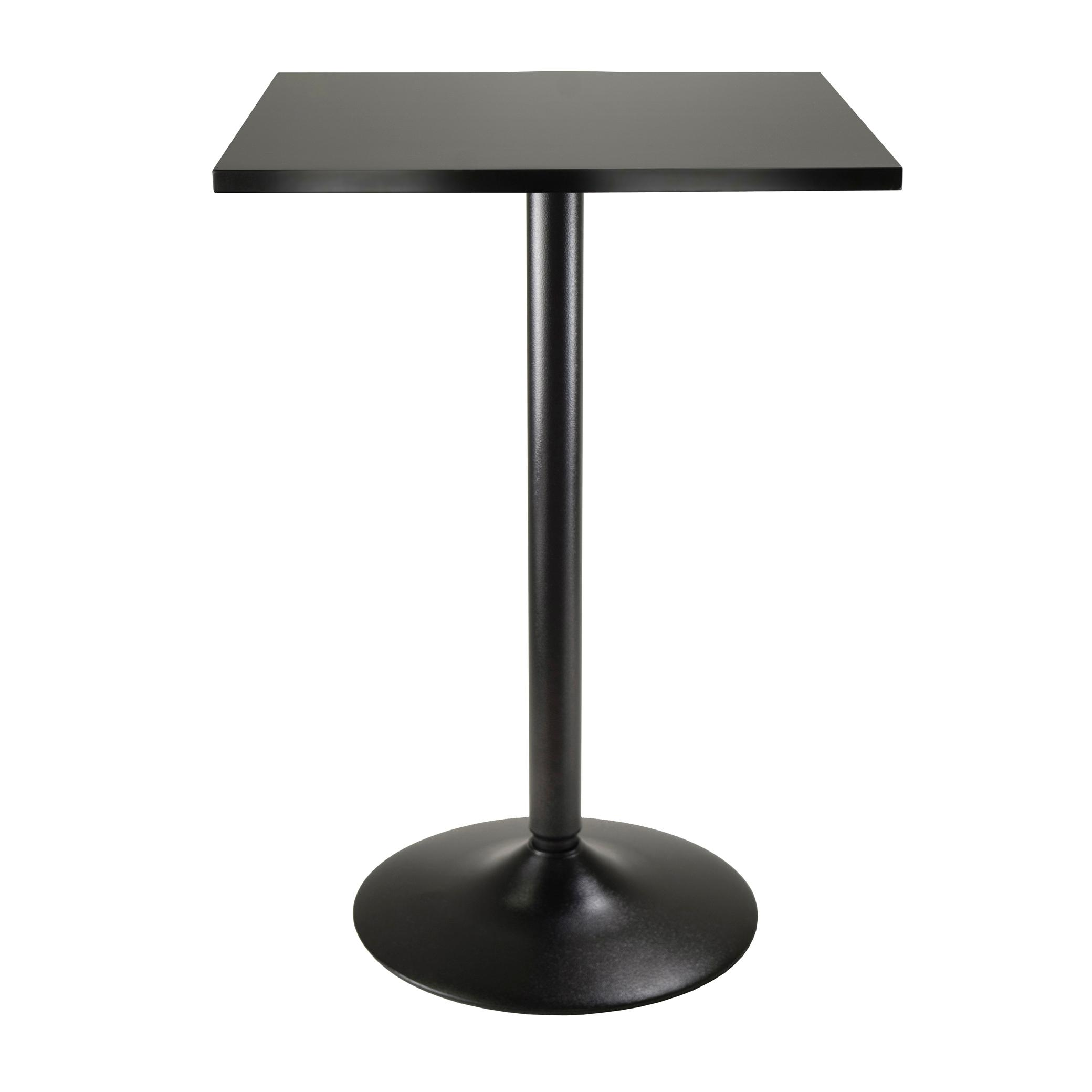 Black Square Kitchen Table: Winsome Wood Obsidian High Table Square Black MDF Top With