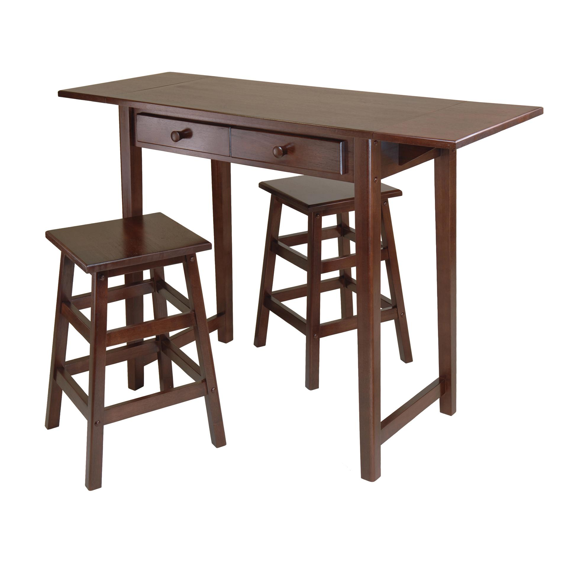 Winsome Wood Mercer Double Drop Leaf Table with 2 Stools Amazon
