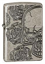 deep carve, skull with rose, antique silver plate skull lighter,