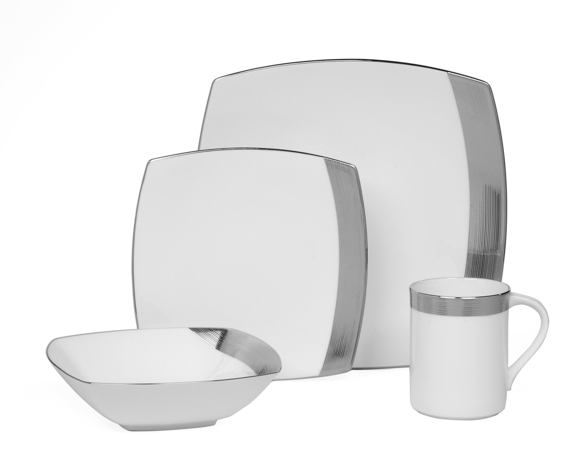 mikasa ridge square platinum dinner plate amazon. Black Bedroom Furniture Sets. Home Design Ideas