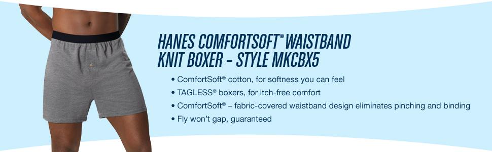 Hanes Homme TAGLESS ® ComfortSoft ® Knit boxeurs Avec ComfortSoft ® WB 5-Pack MKCBX 5