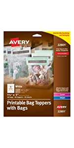 Avery printable bag toppers and bags