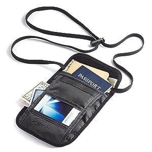 AmazonBasics RFID Travel Neck Stash, Black