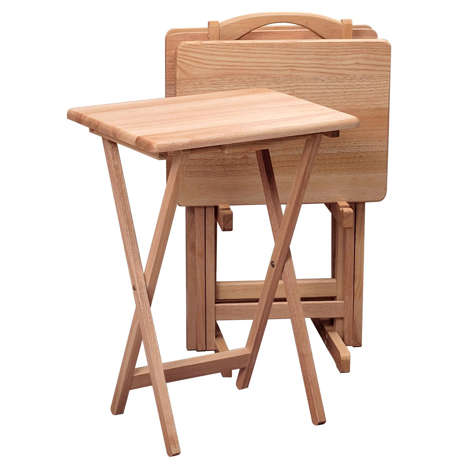 Table With Tv : Winsome wood piece tv table set natural amazon