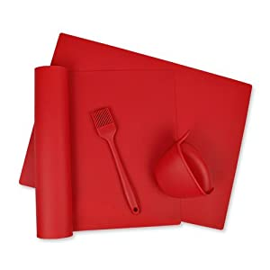 silicone baking set; baking set; baking mat; silicone mat; pastry brush; oven gripper; bpa free; dii