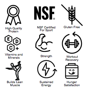 High Quality Protein, NSF Certified For Sport, Gluten Free, Vitamins and Minerals