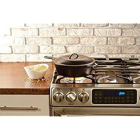 chicken fryer skillet, popcorn pan, covered cast iron skillet