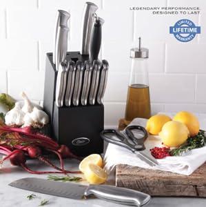 Oster Baldwyn 14-Piece Cutlery Block Set, Brushed Satin