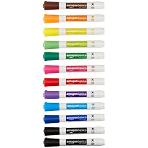 AmazonBasics Low-Odor Dry Erase Markers - Chisel Tip - 12 Pack (Assorted Colors)