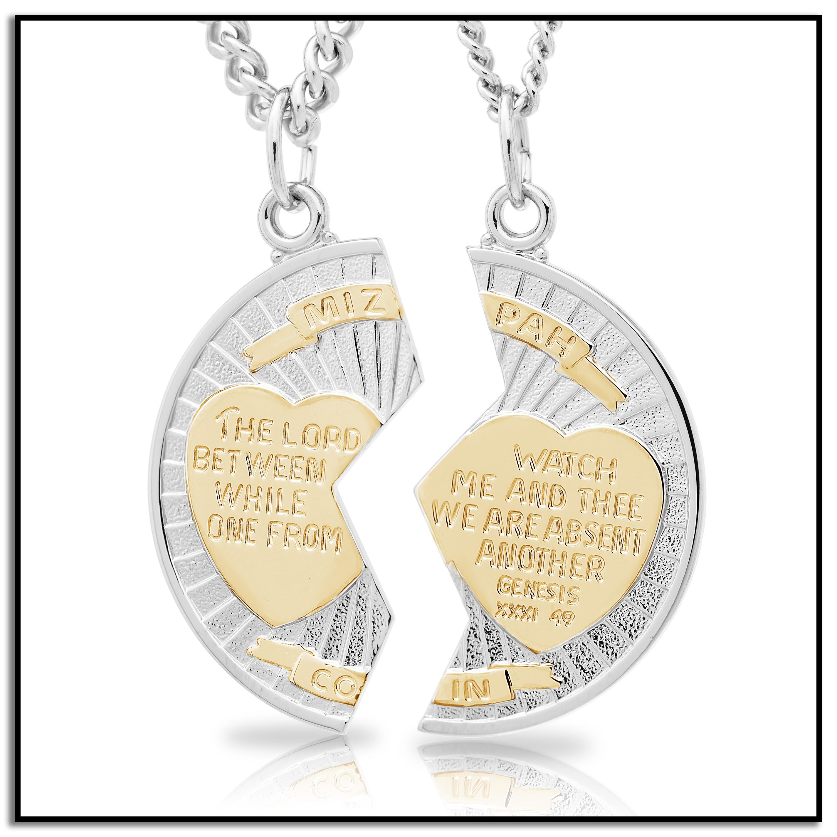 6729f52fe2f Amazon.com  Sterling Silver Mizpah Medal Necklace with Stainless ...