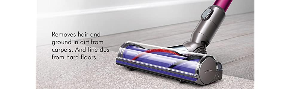 Direct Drive Cleaner Removes hair and ground in dirt from carpets and fine dust from hard floors