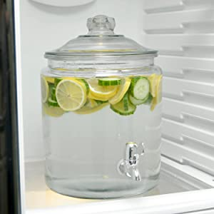 anchor hocking; glass; glassware; heritage hill; dispenser; serveware; refrigerator safe; infused