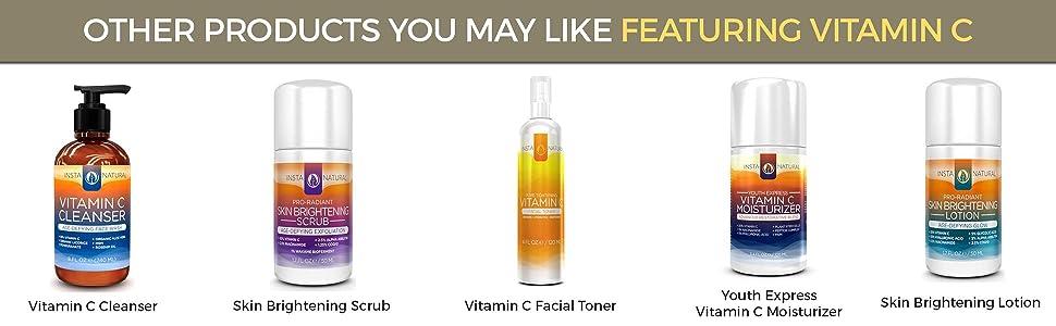 vitamin c serum 20 for face, vitamin c cleanser, face wash, facial toner, lotion, moisturizer, scrub