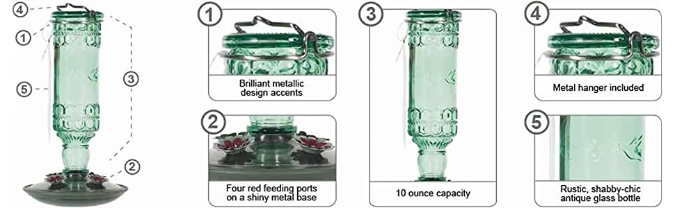 Perky-Pet Green 10-Ounce Antique Bottle Glass Hummingbird Feeder