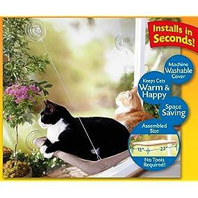 Amazon.com: Asiento/cama de sol para gatos para montar en la ...