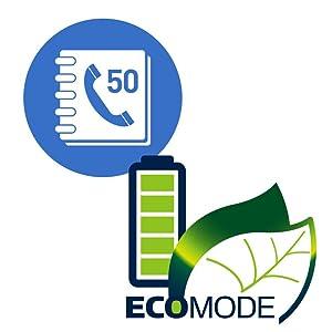Panasonic KX-TGC352B 50 phone number memory and Intelligent Eco Mode