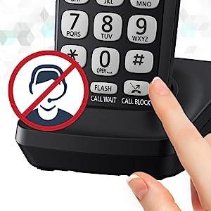 Panasonic KX-TGE433B dedicated call block button