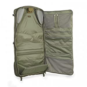 9f45a1393 This tri-fold garment bag is compact in design and well organized. 1680D  ballistic nylon outer fabric resists wear, water, dirt and abrasion.